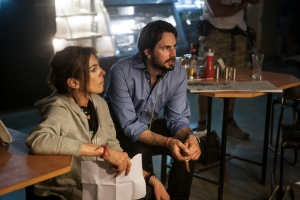 Director/Producer Kathryn Bigelow (left) and Writer/Producer Mark Boal on the set of Columbia Pictures' thriller ZERO DARK THIRTY. Credit: Jonathan Olley